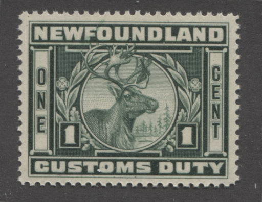 Newfoundland #NCF4 1c Deep Green Caribou, 1939 Customs Duty, Very Fine Mint NH Example