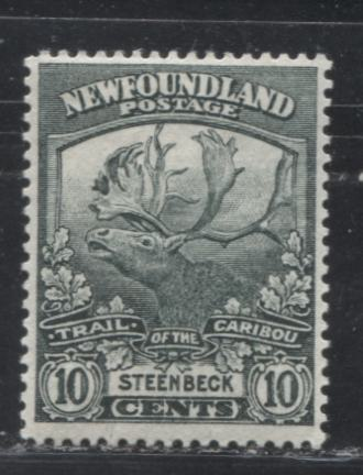 Newfoundland #122 10c Blackish Green Steenbeck, 1919-1923 Trail of the Caribou Issue, A Very Fine Mint OG Example, Line Perf. 14.1