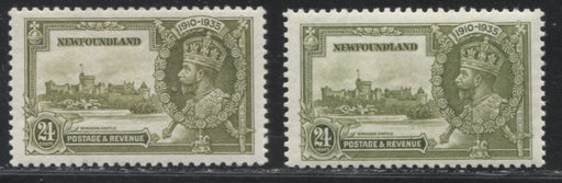 Newfoundland #229 24c Sage Green and Yellow Olive 1935 Silver Jubilee, Fine and Very Fine NH Examples