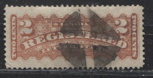 Canada #F1b 2c Vermilion 1875-88 Registered Issue, A Fine Used Example of the Ottawa Gazette Printing, Perf. 12.25 x 12.2 on Soft Vertical Wove With Segmented Cork Cancel