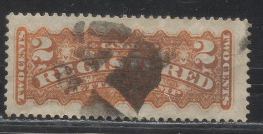 Canada #F1i  2c Orange Red 1875-88 Registered Issue, A Fine Used Example of the Montreal Printing, Perf. 12.25 x 12.2 on Stout Vertical Wove With Segmented Cork Cancel