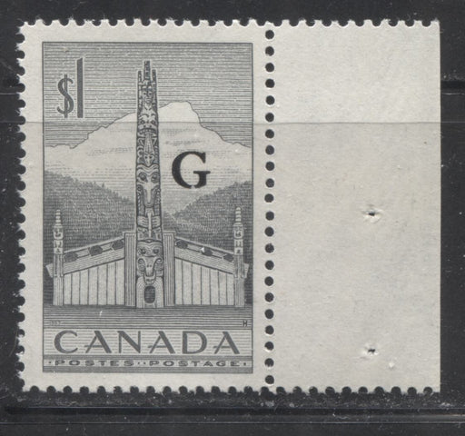 Canada #O32 $1 Grey Pacific Coast Totem Pole 1953-1963  Karsh and Wilding Official Issue, Bright DF Gr Smooth Paper, Perf. 11.9 x 12, Streaky Semi Gloss Gum, VFNH