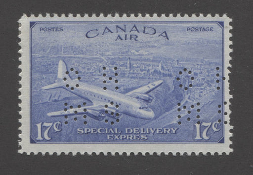 Canada #OCE3 17c Deep Ultramarine D.C. 4-M Airplane, 1946-1951 Peace Issue, A Fine Mint Single of the Type 1 4-Hole OHMS Perfin