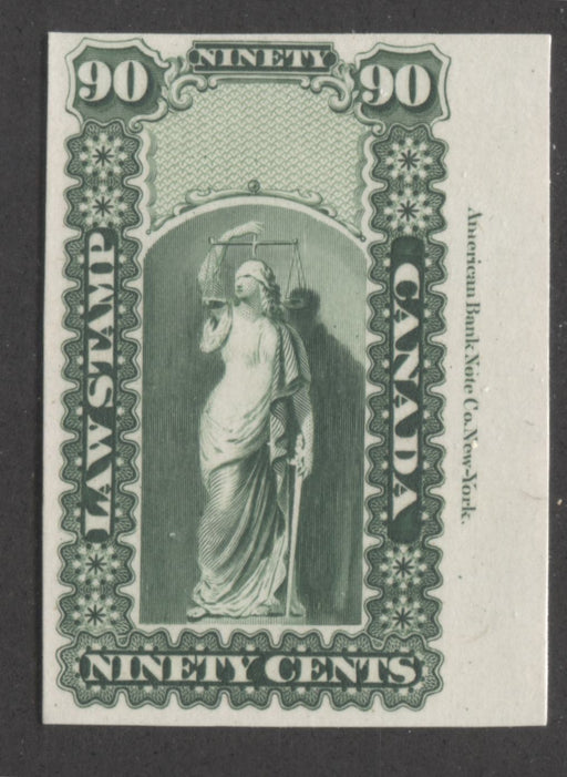 Canada #OL10P 90c Sap Green, Justice and Scales, 1864 Ontario Law Issue, Imprint Plate Proof on India Paper, Mounted on Card