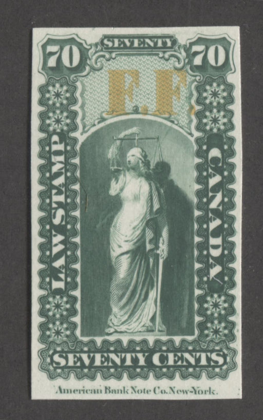 Canada #OL23P 70c Deep Green and Yellow, Justice and Scales, 1864 Ontario Law Issue Overprinted F.F. VF Example of the Plate Proof on Card
