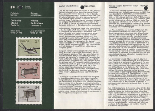 1982-1987 Artifacts & Wildlife Issue Stamp Pamphlet For the First Issue of Middle Values - April 8, 1983