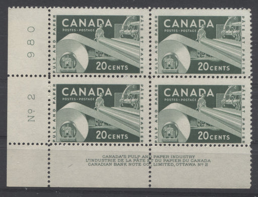 Canada #362 20c Deep Green Paper Industry, 1954-67 Wilding and Cameo Issue, a FNH Lower Left Plate 2 Block on Dull Fluorescent Bluish White Ribbed Paper, Perf. 11.95