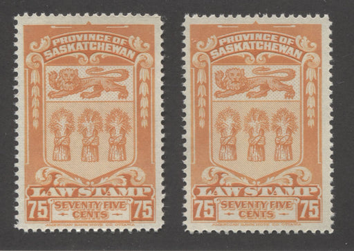 Sakatchewan #SL50 75c Bright Orange 1938-1968 Second Law Issue, Early and Late Printings, Very Fine Mint NH
