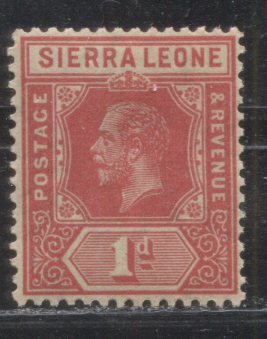 Sierra Leone #104 (SG#113b) 1d Rose Red King George V, 1912-1921 First Imperium Keyplate Issue, Watermarked Multiple Crown CA, a VFNH Example of the 1918 Printing