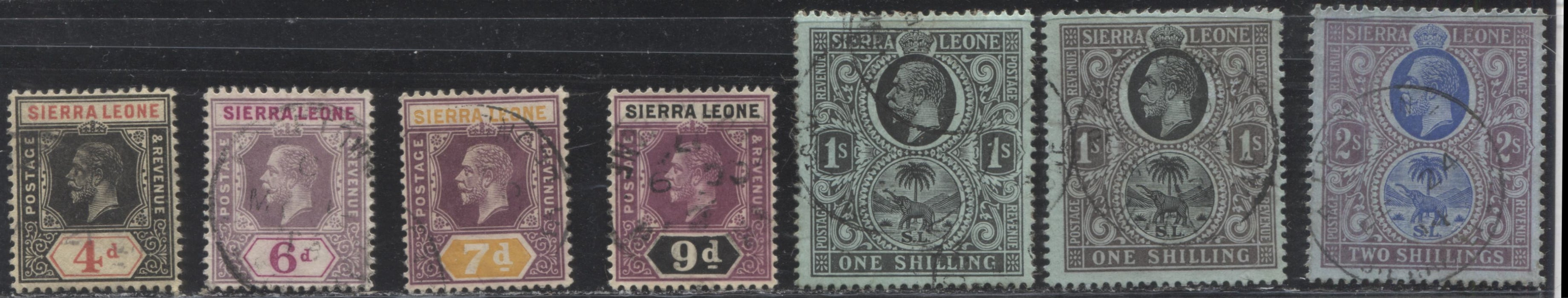 Sierra Leone #109/116 (SG#117/125) 4d Black and Red on Yellow - 2/- Blue and Purple on Blue, King George V, 1912-1921 First Imperium Keyplate Issue, Watermarked Multiple Crown CA, 7 Mostly VF Used Stamps