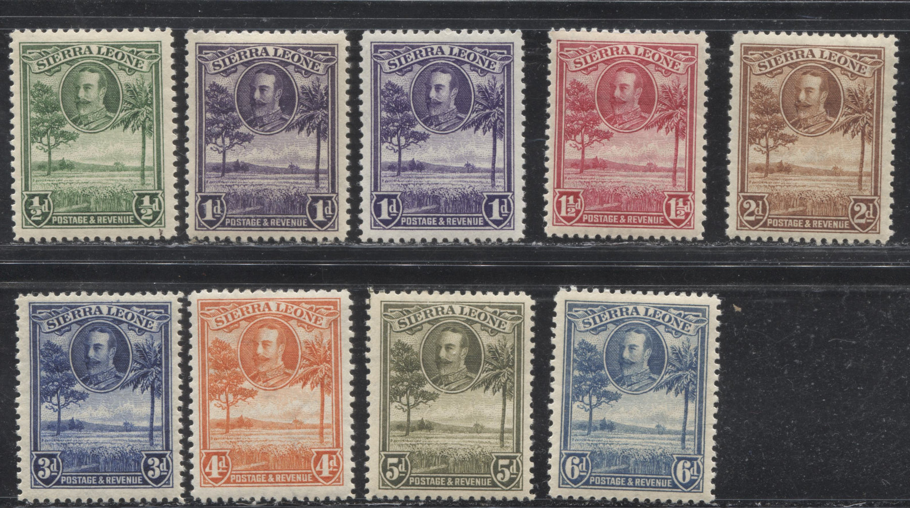 Sierra Leone #140-147 (SG#155-162) 1/2d Green - 6d Light Blue King George V and Rice Field, 1932 Definitive Issue, Complete F-VF OG Mint Including Extra Shade of the 1d