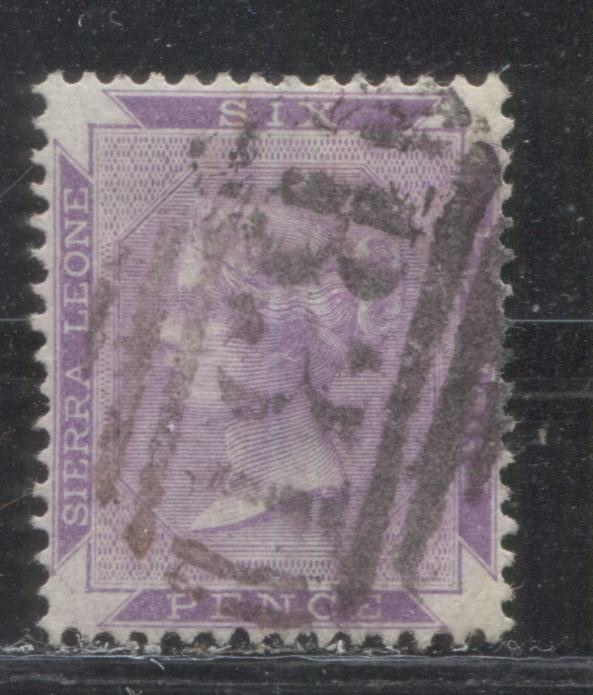 Sierra Leone #17 (SG#35) 6d Dull Violet, Queen Victoria, 1885-1896 Keyplate Issue, Perf. 14, Watermarked Crown CA a VF Used Example