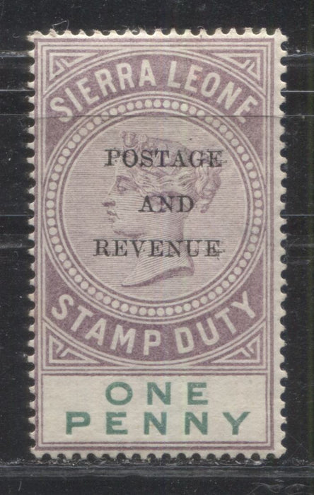 Sierra Leone #47 (SG#54) 1d Dull Purple and Green, Queen Victoria, 1897 Postage and Revenue Overprinted Fiscal Issue, a Fine Mint OG Example