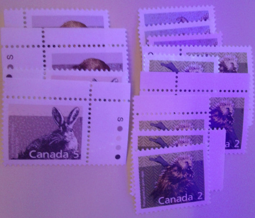 Canada #1157 3c Muskrat 1988-1991 Wildlife and Architecture Issue, a VFNH Set of Inscription Blocks on NF/DF Slater Paper