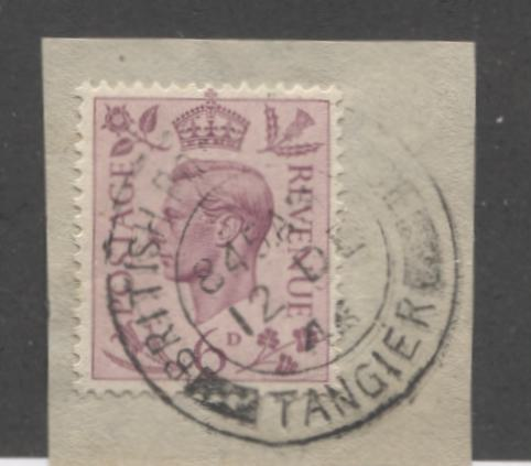 Morocco Agencies - GB Stamps Used in Morocco #Z186 6d Purple, King George VI, a VF Used Single Tied to Piece by December 12, 1946 Tangier Cancel