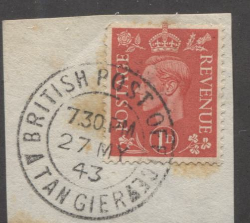 Morocco Agencies - GB Stamps Used in Morocco #Z198 1d Pale Scarlet, King George VI, a VF Used Single Tied to Piece by May 27, 1943 Tangier Cancel