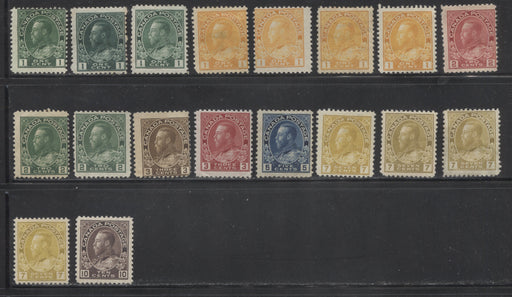 Canada #104/116 1c Green - 10c Plum King King George V,  1911-1928 Admiral Issue, A Specialized Lot of 18 Very Good OG Stamps Including Many Shades and Printings