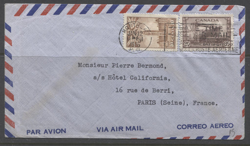 A Very Fine 1946 War Issue Airmail Cover From Montreal to Paris, Franked With 10c Parliament Buildings and 20c Corvette Stamps Brixton Chrome