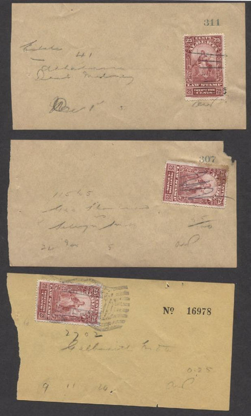 Alberta #AL30, AL30a 25c Lake Red/Carmine Law Stamp on 3 Search Receipts Brixton Chrome