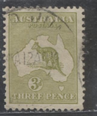 Australia SG#37d 3d Yellow Olive Kangaroo and Map, 1915-1927 Kangraoo Issue, Narrow Crown Over A Watermark, Die I, A Fine Used Example