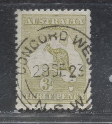 Australia SG#37e 3d Light Olive Kangaroo and Map, 1915-1927 Kangraoo Issue, Narrow Crown Over A Watermark, Die IIb, A Very Fine Used Example With Lovely December 29, 1923 Concord West SON CDS Cancel