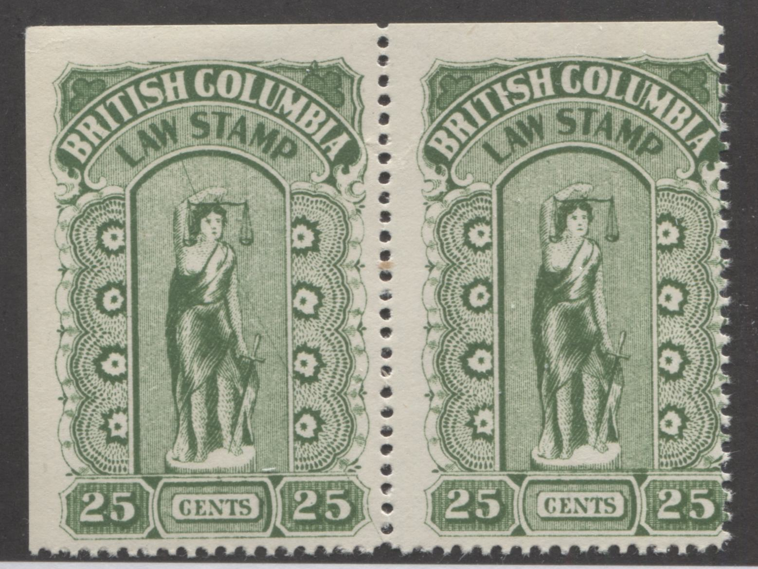 British Columbia #BCL23 25c Green Law Stamp From the 1912-26 Fifth Series, A Fine NH Corner Sheet Pair, Showing Diagonal Line Through Justice on Left Stamp Brixton Chrome