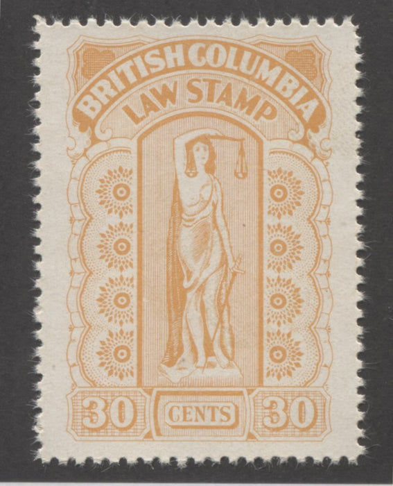 British Columbia #BCL38 30c Orange Law Stamp From the 1942-48 Eighth Series, A VFNH Example Brixton Chrome