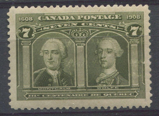 Canada #100 (SG#192) 7c Brownish Olive Quebec Tercentenary Issue Coarse Mesh Paper - F-65 OG Brixton Chrome