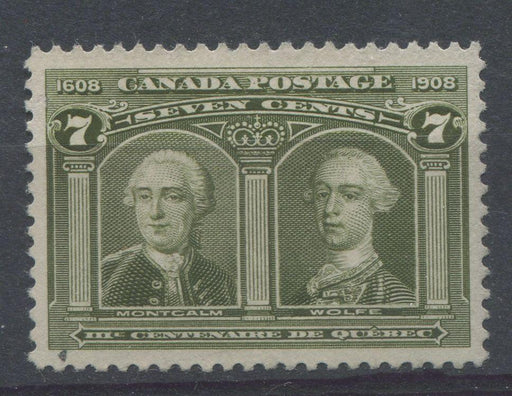 Canada #100 (SG#192) 7c Olive Green Quebec Tercentenary Fine Mesh Paper - VF-84 Used Brixton Chrome