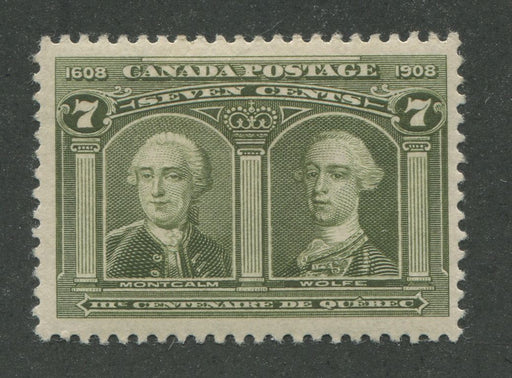 Canada #100 (SG#192) 7c Olive Green Quebec Tercentenary Issue Coarse Mesh Paper - VF-75 OG Brixton Chrome