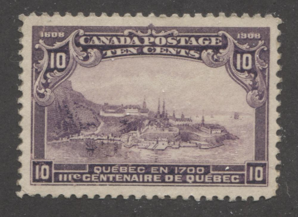 Canada #101 (SG#193) 10c Deep Purple Quebec Tercentenary Issue Coarse Mesh Paper A Very Fine Regummed Example Brixton Chrome