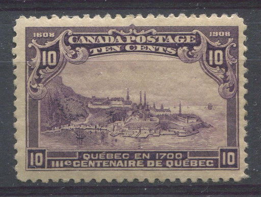 Canada #101 (SG#193) 10c Dull Purple Quebec Tercentenary Issue Paper With No Visible Mesh - VF-75 Disturbed Gum Brixton Chrome