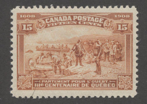 Canada #102 15c Orange Quebec Tercentenary Issue Coarse Mesh Paper , Very Lightly Hinged and Fresh Mint Brixton Chrome