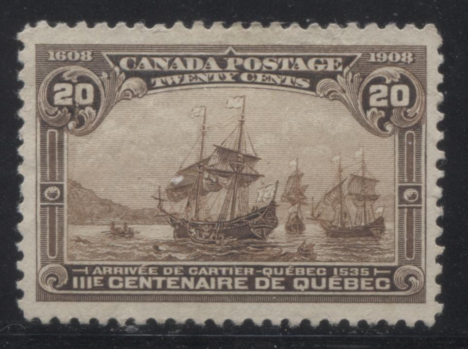Canada #103 20c Brown Cartier's Arrival, 1908 Quebec Tercentenary Issue, Fine Unused Single Brixton Chrome