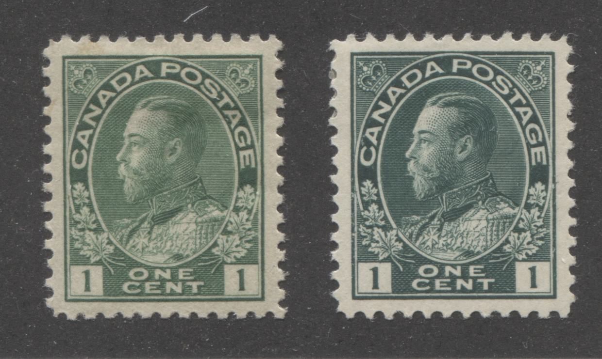 Canada #104, 104c 1c Green and Dark Bluish Green King George V, 1911-1928 Admiral Issue, Very Fine Mint Hinged Examples Brixton Chrome