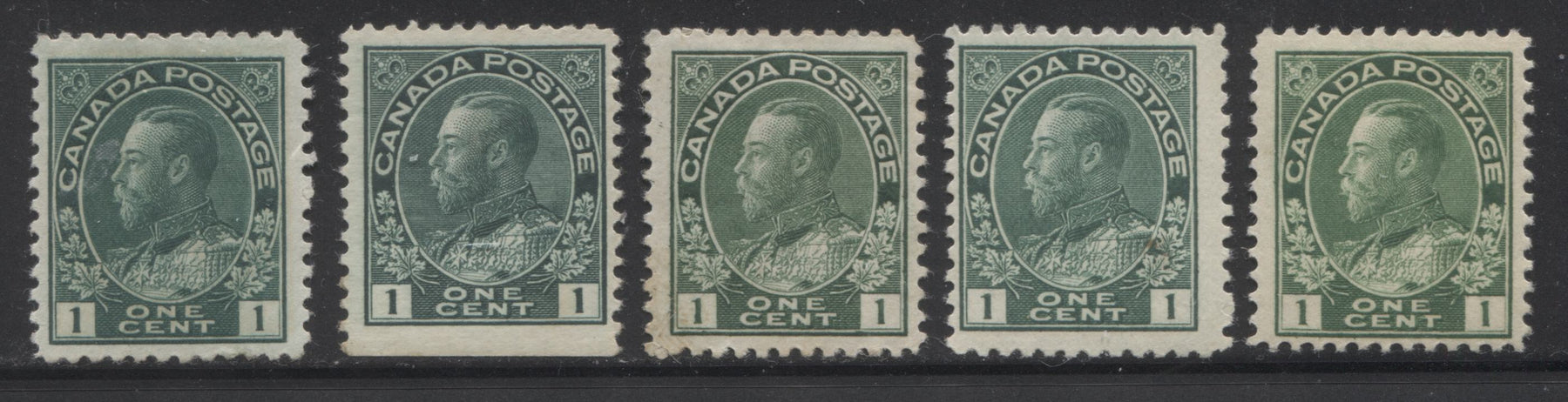 Canada #104/104aivs 1c Dark Green, Deep Yellow Green, Blue Green and Deep Blue Green, King George V 1911-1928 Admiral Issue Fine Mint OG Examples of the Sheet Stamps and the Scarce Squat Printing Booklet Single, Various Shades Brixton Chrome