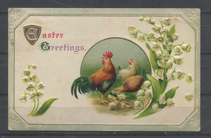 Canada #104aiis (SG#198) 1c Deep Bluish Green on 1914 Embossed Easter Postcard - VF-80 Brixton Chrome