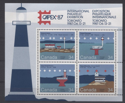 Canada #1066b (SG#MS1180) $1.36 1985 Lighthouses Souvenir Sheet DF-fl Paper VF-84 NH Brixton Chrome