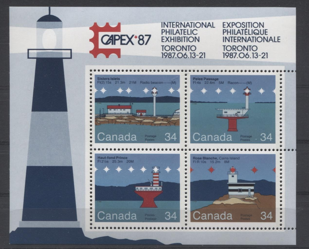 Canada #1066b (SG#MS1180) $1.36 1985 Lighthouses Souvenir Sheet LF-fl Paper VF-75 NH Brixton Chrome