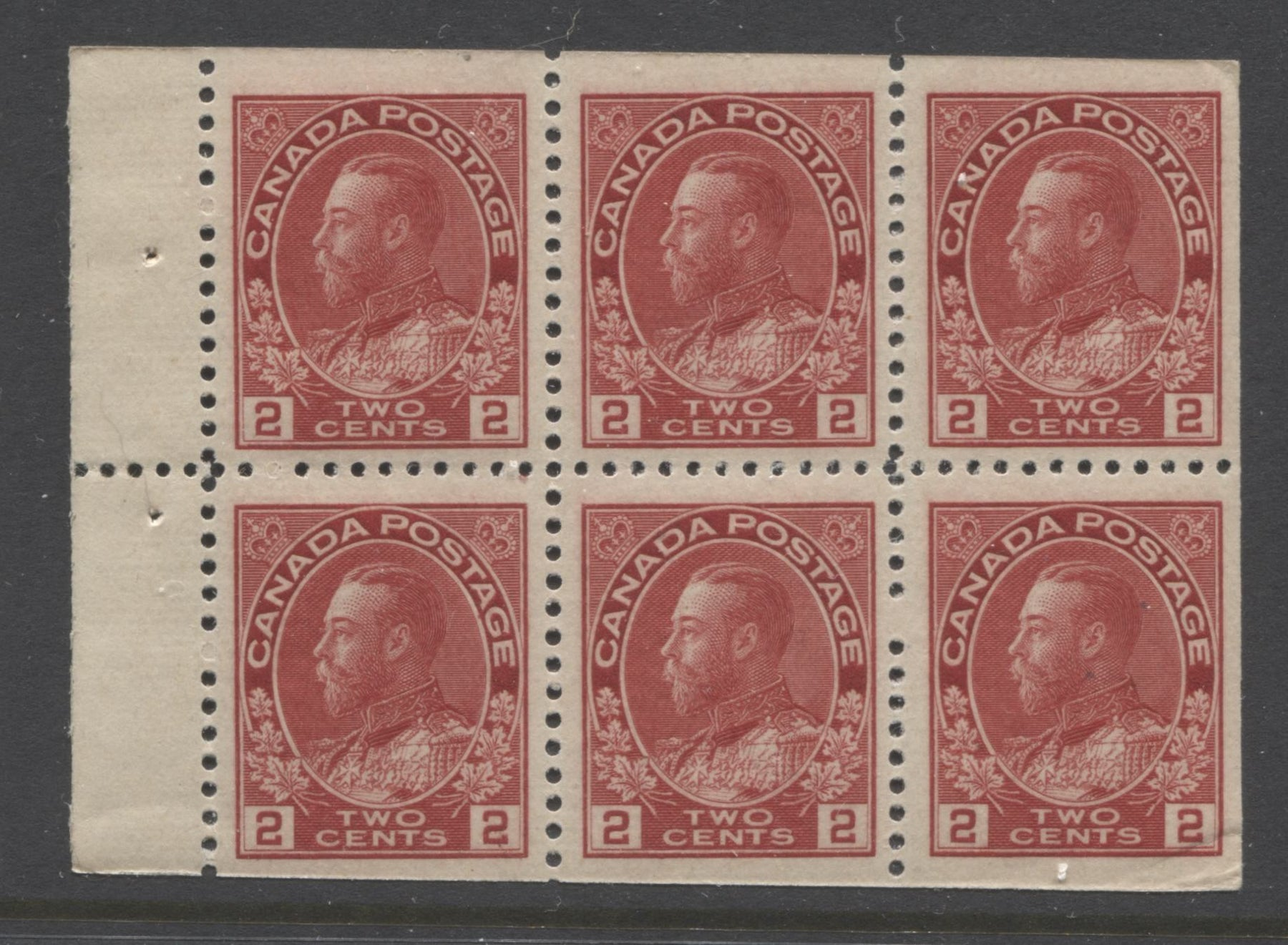 Canada #106a 2c Carmine-Red King George V, 1911-1928 Admiral Issue, Fine NH Miscut Booklet Pane of 6 of the 17.7 mm x 21.5 mm Wet Printing Brixton Chrome