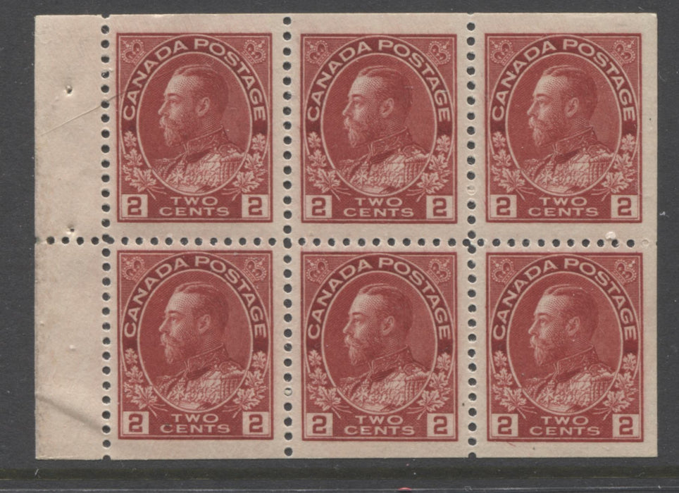 Canada #106a 2c Deep Carmine King George V, 1911-1928 Admiral Issue, Very Fine NH Booklet Pane of 6 of the 17.7 mm x 21.5 mm Wet Printing Brixton Chrome