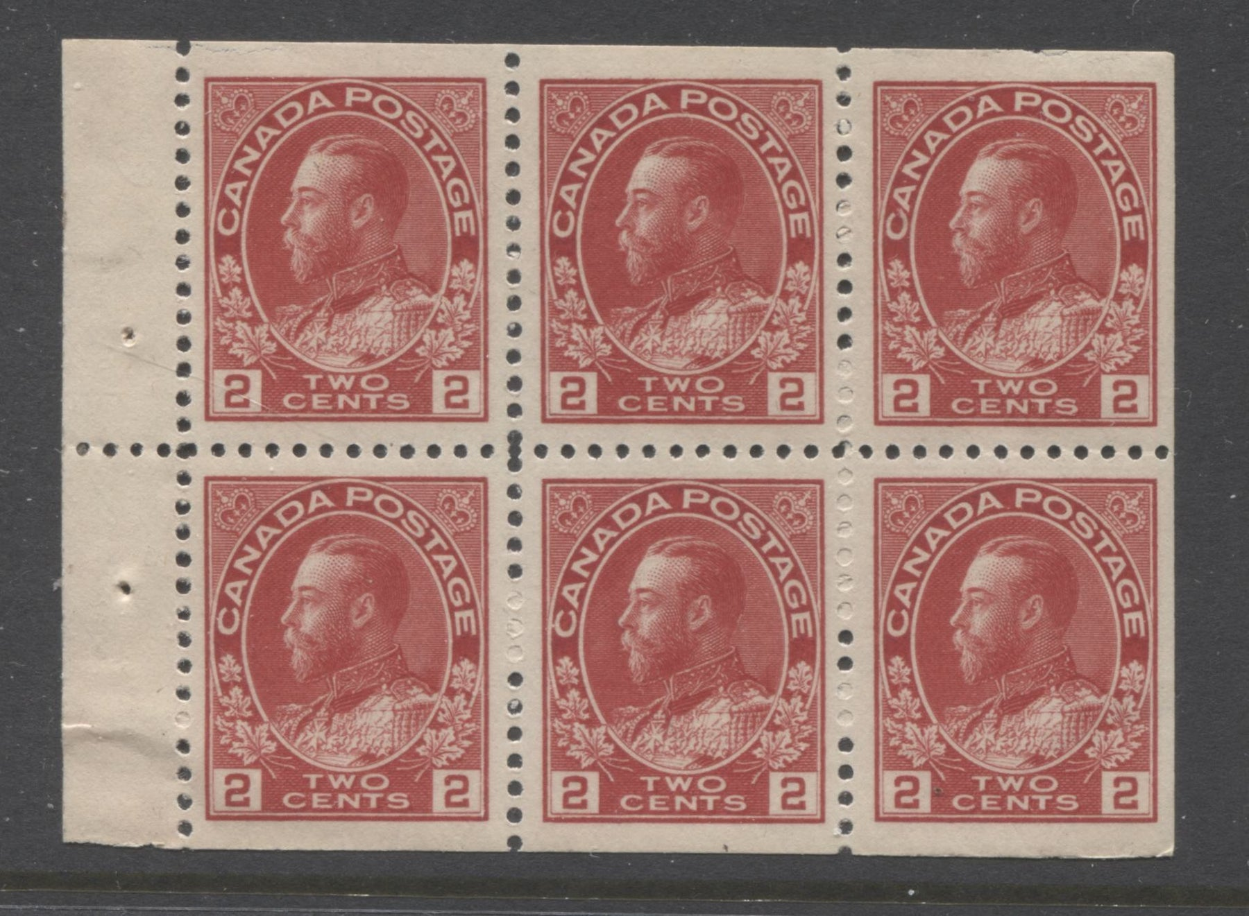 Canada #106a 2c Pale Carmine King George V, 1911-1928 Admiral Issue, Very Fine NH Booklet Pane of 6 of the 17.7 mm x 21.5 mm Wet Printing Brixton Chrome