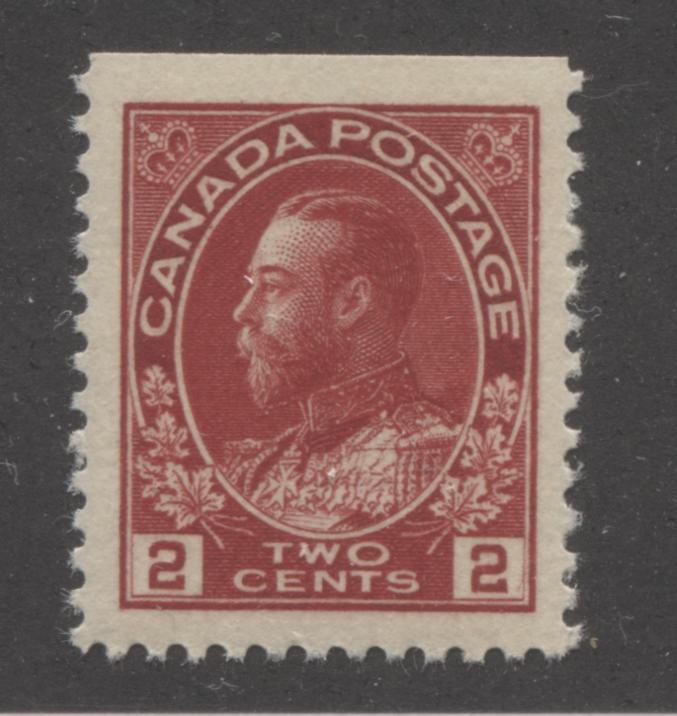 Canada #106as 2c Deep Bright Carmine-Red King George V, 1911-1928 Admiral Issue, Very Fine NH Top Row Booklet Single of the 17.7 mm x 21.5 mm Wet Printing Brixton Chrome