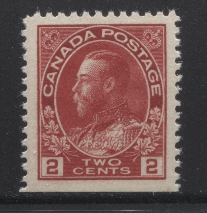 Canada #106as 2c Deep Rose Red, Rose Carmine and Dark Carmine , King George V 1911-1928 Admiral Issue Very Fine Mint NH Single of the Booklet Single on Vertical Wove Brixton Chrome