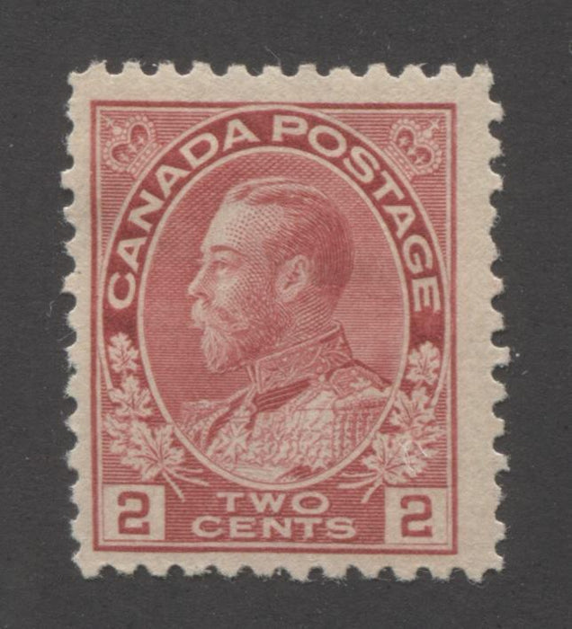 Canada #106b 2c Pink, King George V 1911-1928 Admiral Issue Fine Mint OG Example of the Scarce First Printing Brixton Chrome