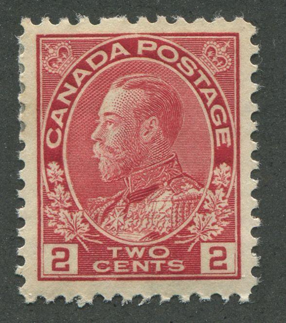 Canada #106iii (SG#201) 2c Deep Rose Red 1911-1928 Admiral Issue Fine Mesh Paper VF-78 OGHR Brixton Chrome