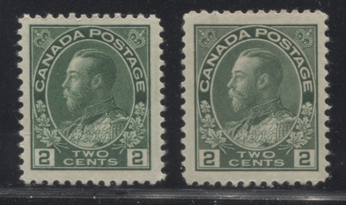 Canada #107, 107e 2c Green King George V, 1911-1928 Admiral Issue, Very Fine Mint OG Examples of the Wet and Dry Printings Brixton Chrome