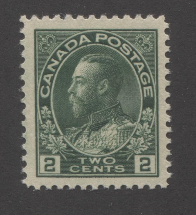 Canada #107e 2c Deep Green, King George V 1911-1928 Admiral Issue Very Fine Mint LH Example of the Deep Green Shade Brixton Chrome