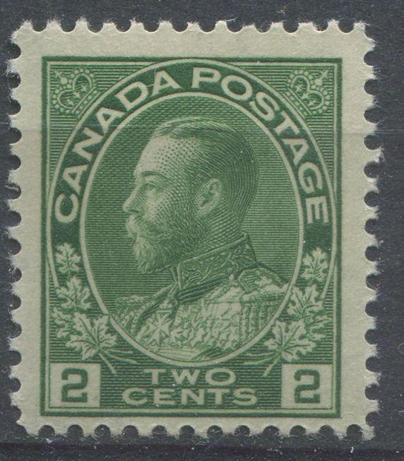 Canada #107iv (SG#247) 2c Deep Dull Yellowish Green Admiral Issue Dry Fine Mesh Paper F-68 NH Brixton Chrome