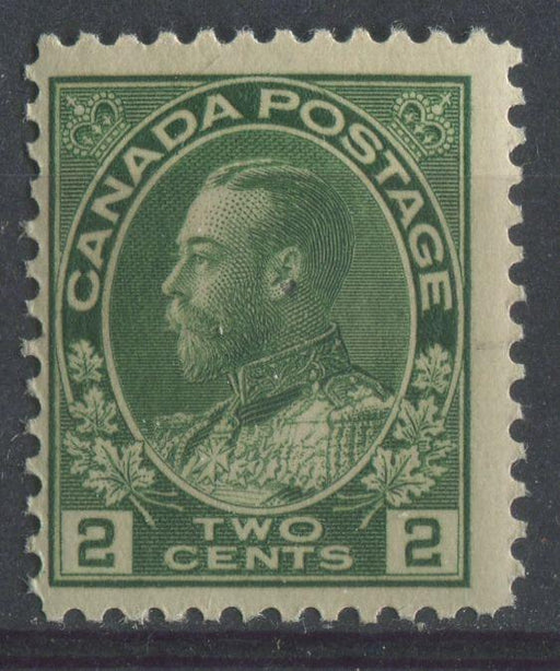 Canada #107iv (SG#247) 2c Deep Dull Yellowish Green Admiral Issue Dry Printing, Paper With No Mesh F-65 NH Brixton Chrome